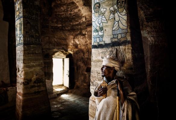 Father Rufael inside Abuna Gebre Mikael